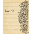 Floral doodle on paper sheet background vector