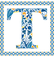 Blue letter t vector