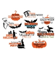 Set of happy halloween eerie designs vector