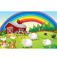 A farm with many animals and a rainbow in the sky vector