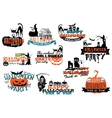 Set of happy halloween banners vector