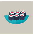 Six sushi rolls with tuna plate vector