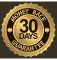 30 days gold money back guarantee label vector