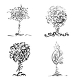 Design trees in sketch style vector