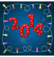 New year card with colorful christmas garland vector