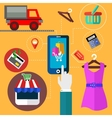 Internet shopping and mobile banking concept vector