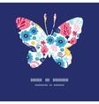 Fairytale flowers butterfly silhouette pattern vector
