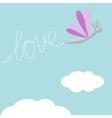 Flying dragonfly insect dash word love in the sky vector
