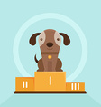 Funny puppy winning in a dog show vector