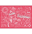 Set of sketch design element summer theme with vector
