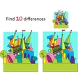 Spot the differences two images with ten changes vector