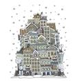 Cartoon winter construction town vector