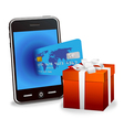 Smart phone with credit card vector