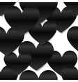 Black glossy paper hearts white background vector