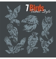 Birds in tribal style set vector