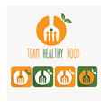 Team healthy food and web icons vector