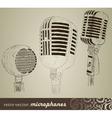 Retro set microphones in doodle style vector