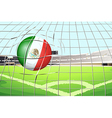 A soccer ball with the flag of mexico vector