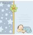 Baby shower card with little baby boy sleep with vector
