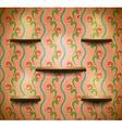 Wooden shelves in retro room vector