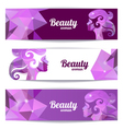 Banners with woman silhouette and triangle pattern vector
