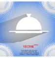 Restaurant cloche flat modern web buttonon a flat vector