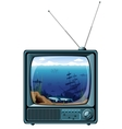 Retro tv with sea view vector