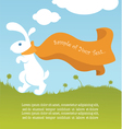 White rabbit easter in cartoon style vector