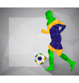 Brazilian football player with ball in triangles6 vector