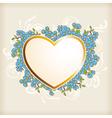 Golden heart and blue flowers vector