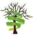 Ecological card with tree and ribbon vector