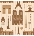 Landmarks of paris monochrome seamless pattern vector