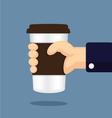 Coffee glass in hand cartoon vector