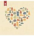 Houses heart shaped vector