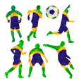 Brazilian football players set with ball in vector