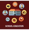 School education flat design vector