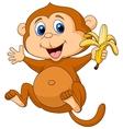Cute monkey cartoon eating banana vector