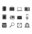 Silhouette business and mobile phone icons vector