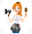 Cute redhead girl hairdresser with hair dryer and vector