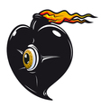 Black heart with fire flames vector