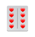 Packaging of heart tablets vector