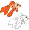 Coloring cartoon goldfish vector