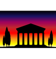 Greek temple at sunset vector