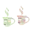 Tea tags cloud with cup shape vector