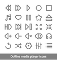 Outline media player icons set vector