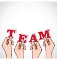 Team word in hand vector