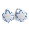 Blue advertising wobblers shaped like snowflakes vector