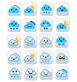 Cute cloud - kawaii manga buttons with different vector