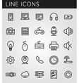 Line icons set technology media objects web design vector
