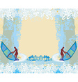 Windsurfer on the wave - abstract frame vector